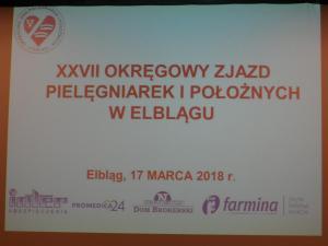 XXVII Okręgowy Zjazd Pielęgniarek i Położnych w Elblągu - Elbląg, 17.03.2018 r.